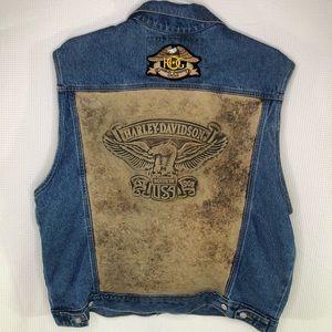 Vtg Men's Harley-Davidson Blue Jean Vest size XL